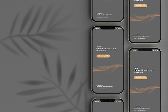 Smart phone mockup with shadow overlay