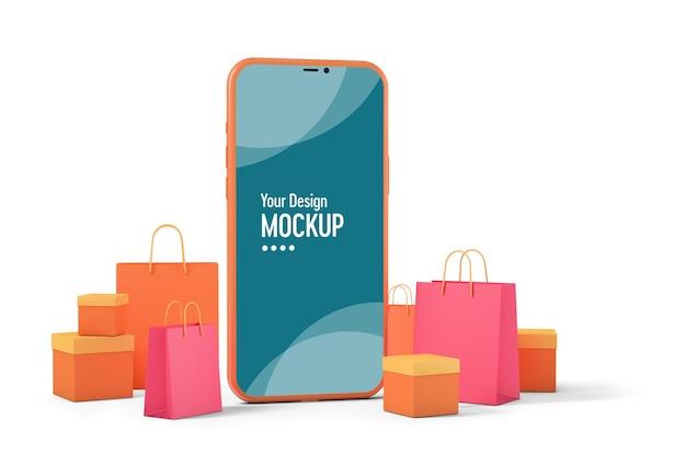 쇼핑백 및 제품 상자가있는 스마트 폰 모형