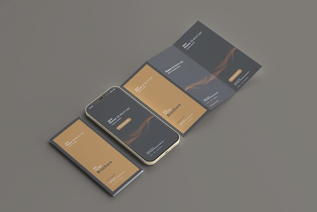 Smart phone mockup with tri-fold brochure