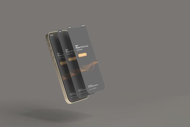 화면이 분리 된 스마트 폰 모형