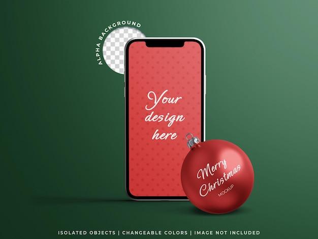 分離されたクリスマスボールと休日の概念のためのスマートフォン画面オンラインプロモーション販売モックアップ