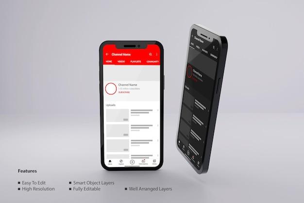 Youtube 프로필 어둡고 밝은 테마 모형 psd가 있는 스마트폰 화면