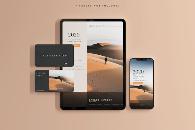 Smart phone and tablet with business cards mockups