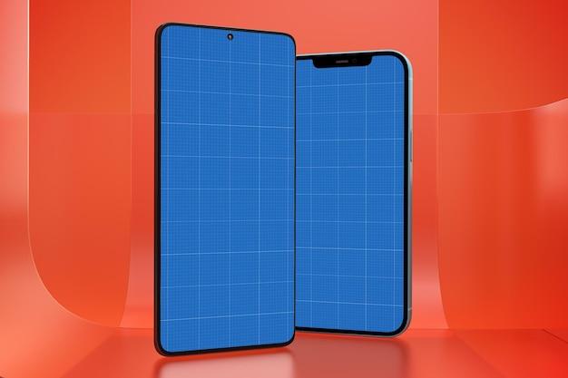Smart phones on glass