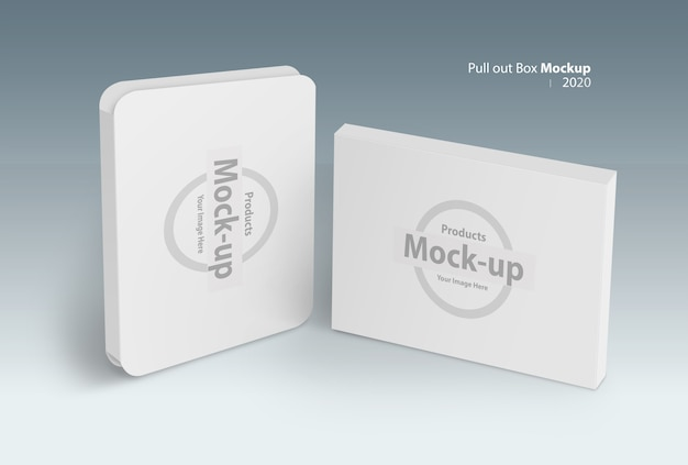 Smart  pull out software box with cover on gray mock-up