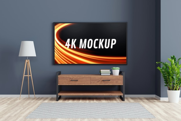 Smart tv mockup on the cabinet in modern living room in 3d rendering