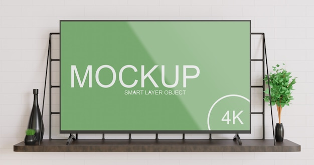 Smart tv mockup standing on the wooden wall table