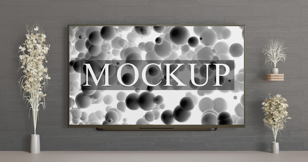 Smart tv mockup on the wall