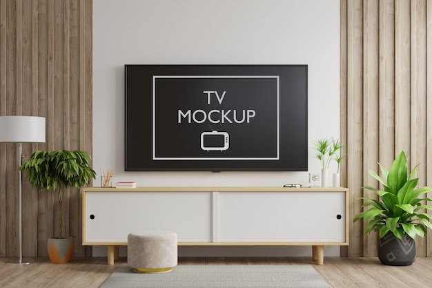 リビングルームの白い壁にスマートテレビ