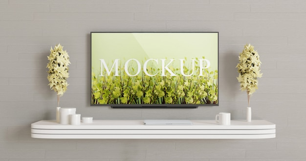 Smart tv screen mockup on the the wall. television display