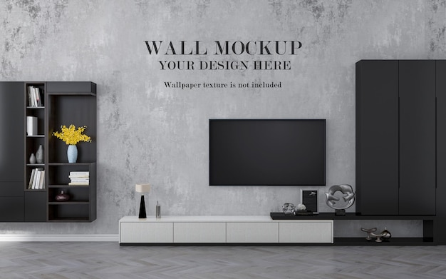 Smart tv on wall mockup with cabinets