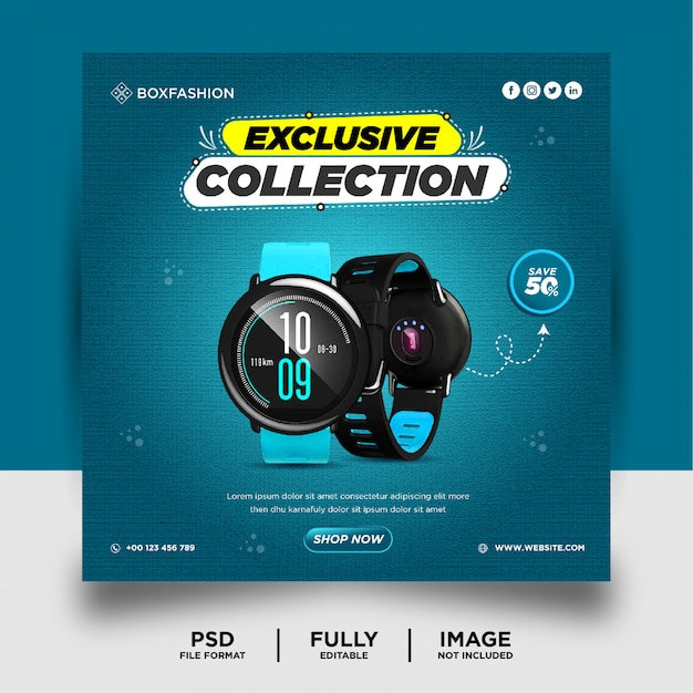 Smart watch brand product social media post banner