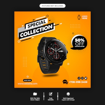 Smart watch sale banner template