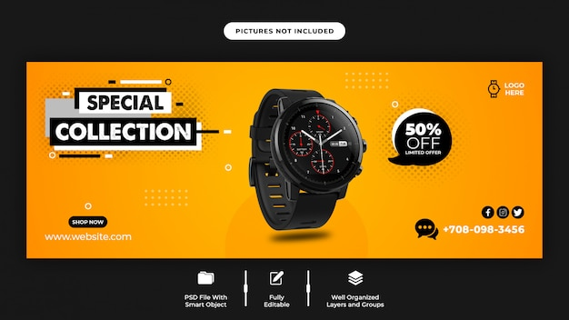 Smart watch sale facebook cover page template