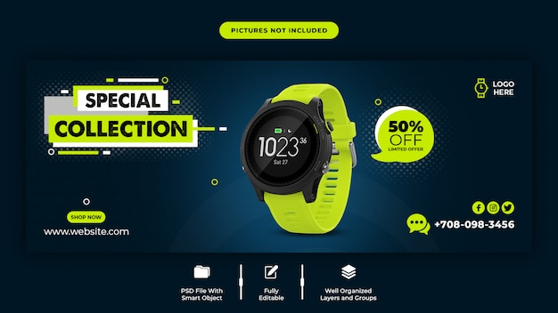 Smart watch sale facebook cover template