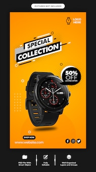 Smart watch sale instagram banner template