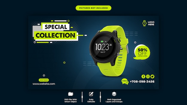 Smart watch sale web banner template