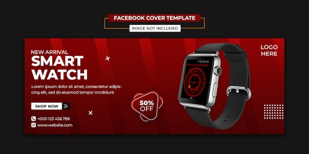 Smart watch social media and facebook cover template