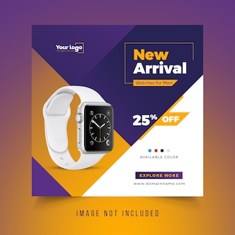 Smart watch social media sales banner template