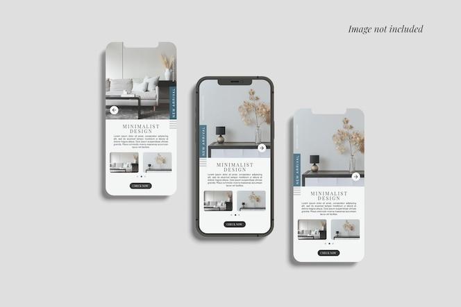 スマートフォン12maxproと2つの画面のモックアップ