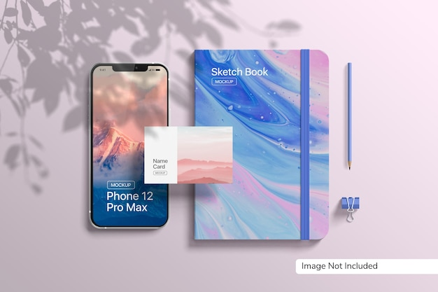 Smartphone 12 pro max and book mockup