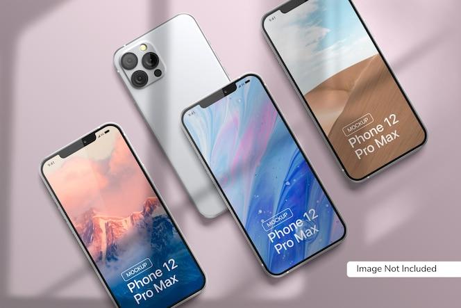 그림자 오버레이가있는 smartphone 12 pro max 모형