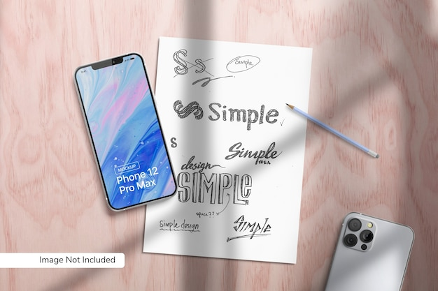 Smartphone 12 pro max and paper mockup