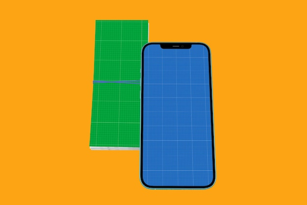スマートフォンと小切手帳のモックアップ