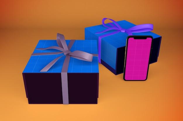 Смартфон и подарочные коробки