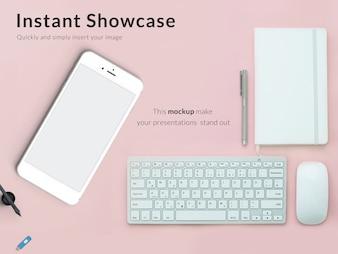 Smartphone and keyboard mock up