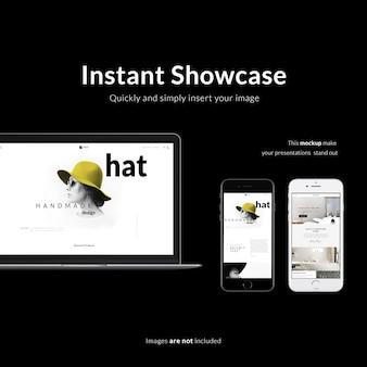 Смартфон и ноутбук на черном фоне макет