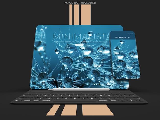 브랜드 아이덴티티를위한 스마트 폰 및 노트북 모형