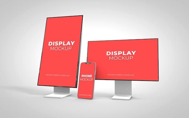 分離されたスマートフォンと画面のモックアップ