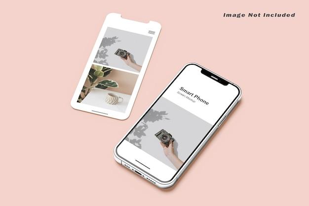 スマートフォンと画面のモックアップ