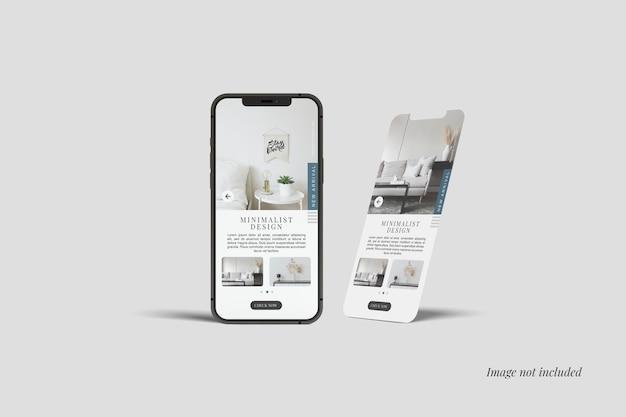Smartphone 12 Max Pro 및 화면 모형 프리미엄 PSD 파일