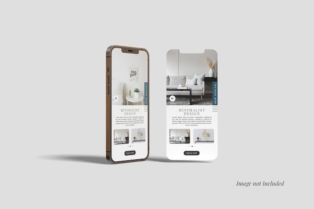 スマートフォン12maxproとui画面のモックアップ