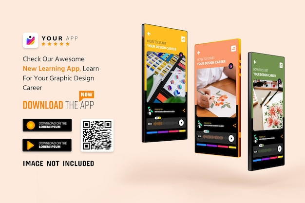 Макет продвижения приложения для смартфона, логотип и кнопки загрузки со сканированием qr-кода