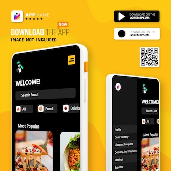 Smartphone app promotion mockup logo and download buttons with scan qr code
