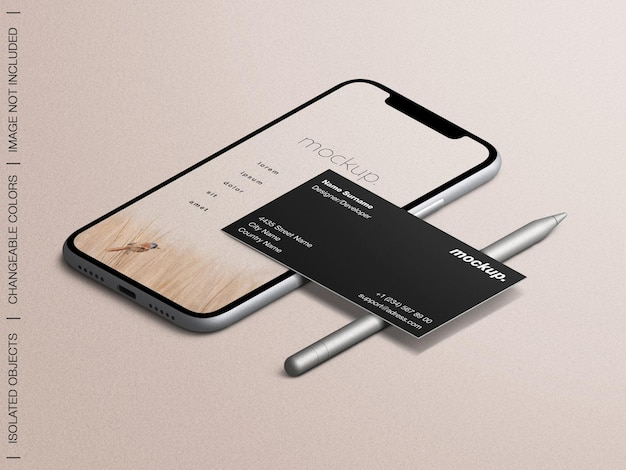 Smartphone app screen and business card mockup with pencil stylus