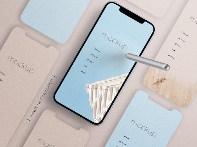 Smartphone app screen presentation mockup with pencil stylus top view isolated