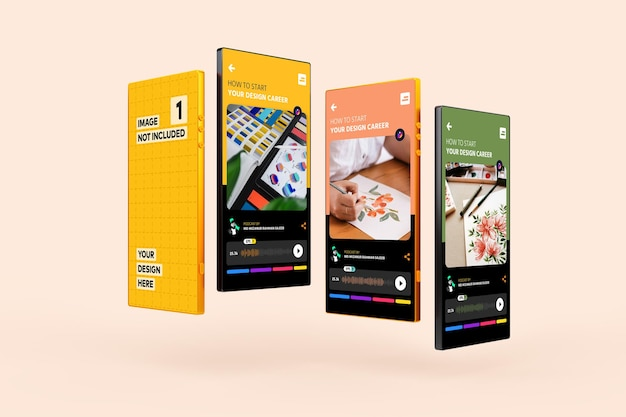 スマートフォンアプリ画面プロモーションモックアップ