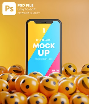 笑顔の絵文字のソーシャルメディアのモックアップの間のスマートフォン