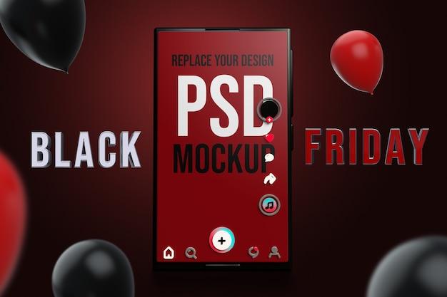 Смартфон черная пятница дизайн мокапа