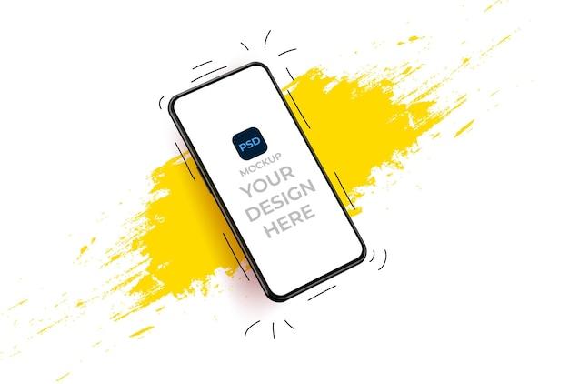 Пустой экран смартфона, макет телефона. вид с телефона на желтое пятно. шаблон для инфографики или интерфейса дизайна пользовательского интерфейса презентации