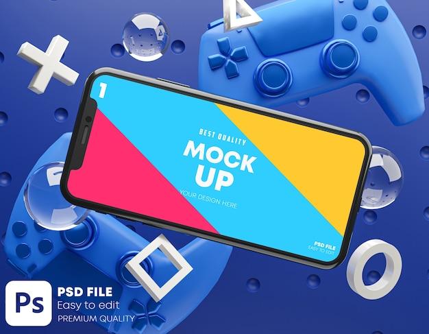 ゲームパッド用スマートフォンブルーモックアップ