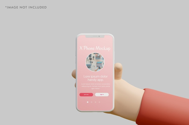 Smartphone clay mockup with 3d hand holding it