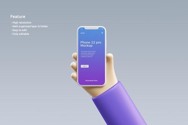 Глиняный макет смартфона с симпатичной трехмерной рукой, держащей его