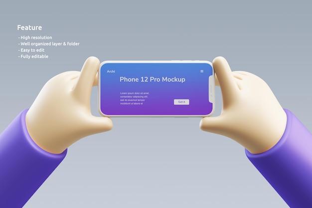 それを持っているかわいい3d手でスマートフォン粘土モックアップ