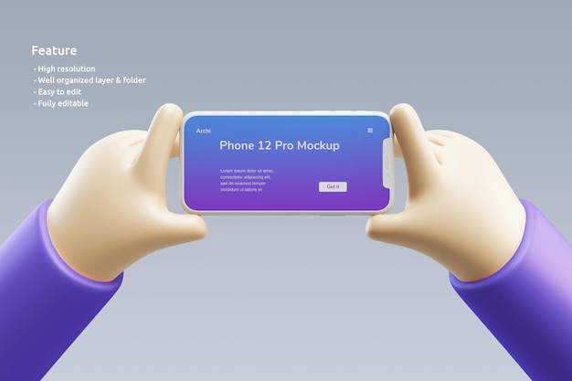 Smartphone clay mockup with a cute 3d hand holding it