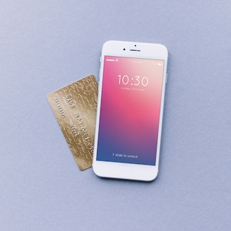 Smartphone and credit card mockup
